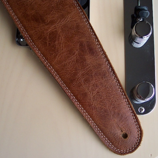 """PETE SCHMIDT TWO TONE BLACK WITH TAN TWEED  2 1//2/"""" WIDE LEATHER GUITAR STRAP"""